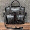 Genuine Crocodile Belly Skin Men's Flap Pockets Top handle Purse Handbag Authentic Alligator Leather Single Cross Shoulder Bag