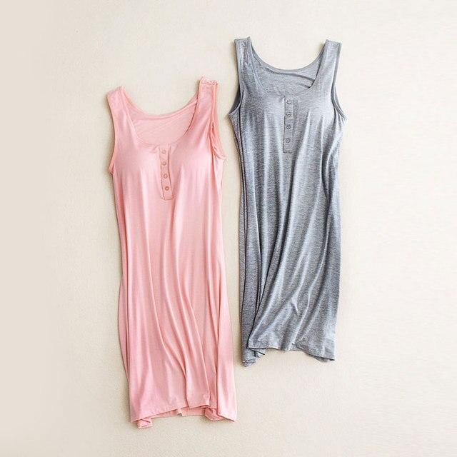 1dec09de5 Camisas De Noite de maternidade Vestido Sem Mangas Mulheres Grávidas  Vestidos de Pijamas Pijamas para Mulheres