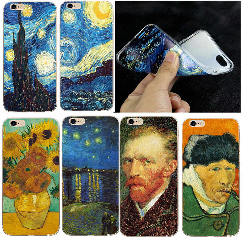 Silicone Phone Case for iphone 8 8X 7 Plus Soft TPU Thin Van Gogh Starry Night Cover Case For Apple iphone 5 5S SE 6 6S  7 Coque