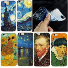 Silicone Phone Case for iphone 8 8X 7 Plus Soft TPU Thin Van Gogh Starry Night Cover Case For Apple iphone 5 5S SE 6 6S 7 Coque(China)
