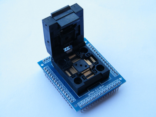 Adaptador de tomada QFP64 TQFP64 LQFP64 chip IC QFP64 STM32 e FPQ-64-0.5-06 0.5 m programador banco de ensaio
