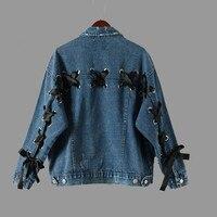BONU Europen Turn Down Collar Lace Up Bowknot Denim Jacket Loose Women Jean Jacket Coat Fashion