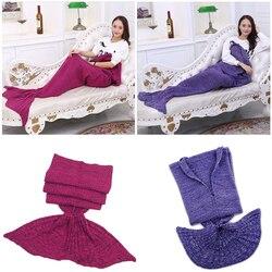 180*90CM Cute Knitted Mermaid Tail Blanket Super Soft Sleeping Bed Handmade Crochet Portable Blanket 10 Colors