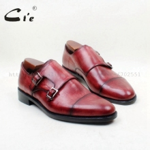 cie Round Toe Bespoke Handmade Cap Toe Hand-painted Double Monk Straps100%Genuine Calf Leather Outsole Men Shoe Red Brown MS149