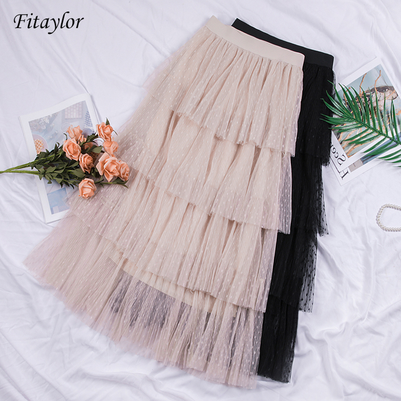Fitaylor Mesh Skirts Spring Tulle Pleated Tiered Ruffled Vintage Long High-Waist New