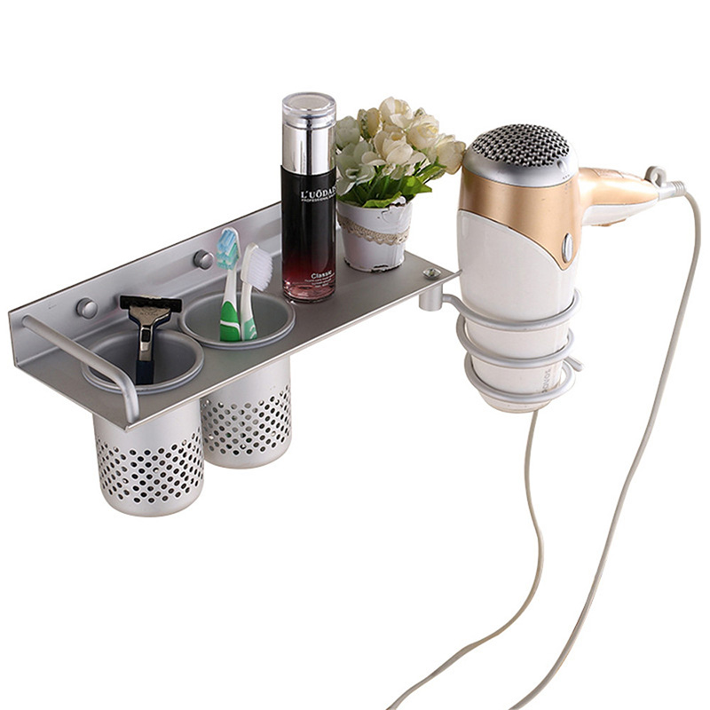 Multi Function Bathroom Hair Dryer Holder Wall Mounted Rack Space Aluminum Shelf Storage Organizer Hairdryer Holder