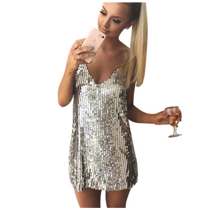4320c181412cc 2019 Summer Women V Neck Silver Sequined Backless Sexy Dress Off ...