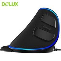 Original Delux M618 PLUS Mouse Wired Ergonomic Blue Light Vertical Mouse Optical USB 1600DPI Computer Mice