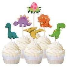12pcs Cute Dinosaur Theme Cupcake Toppers Kids Birthday Cupcake Picks Roar Celebrating Party Decors Animal Party Favor dinosaur roar