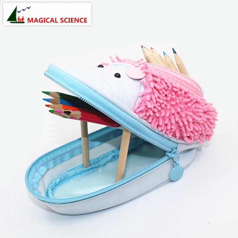 MAGICAL font b SCIENCE b font Hedgehog pencil case for school girls boys Pen pouch bag