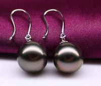 charming 10 11mm Tahitian round black red pearl earring 925s