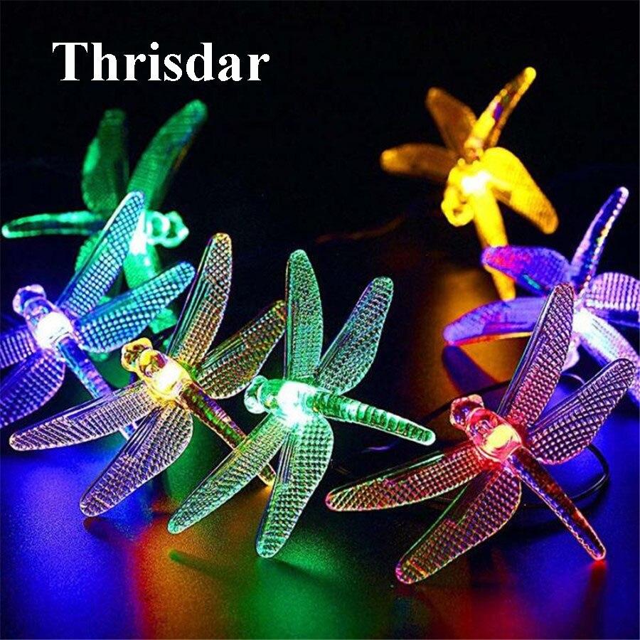 Thrisdar 20 30LED Стрекоза Фея строка солнечного света лампы Открытый Патио двор солнечн ...