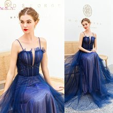 Элегантные темно синие официальные платья для выпускного вечера