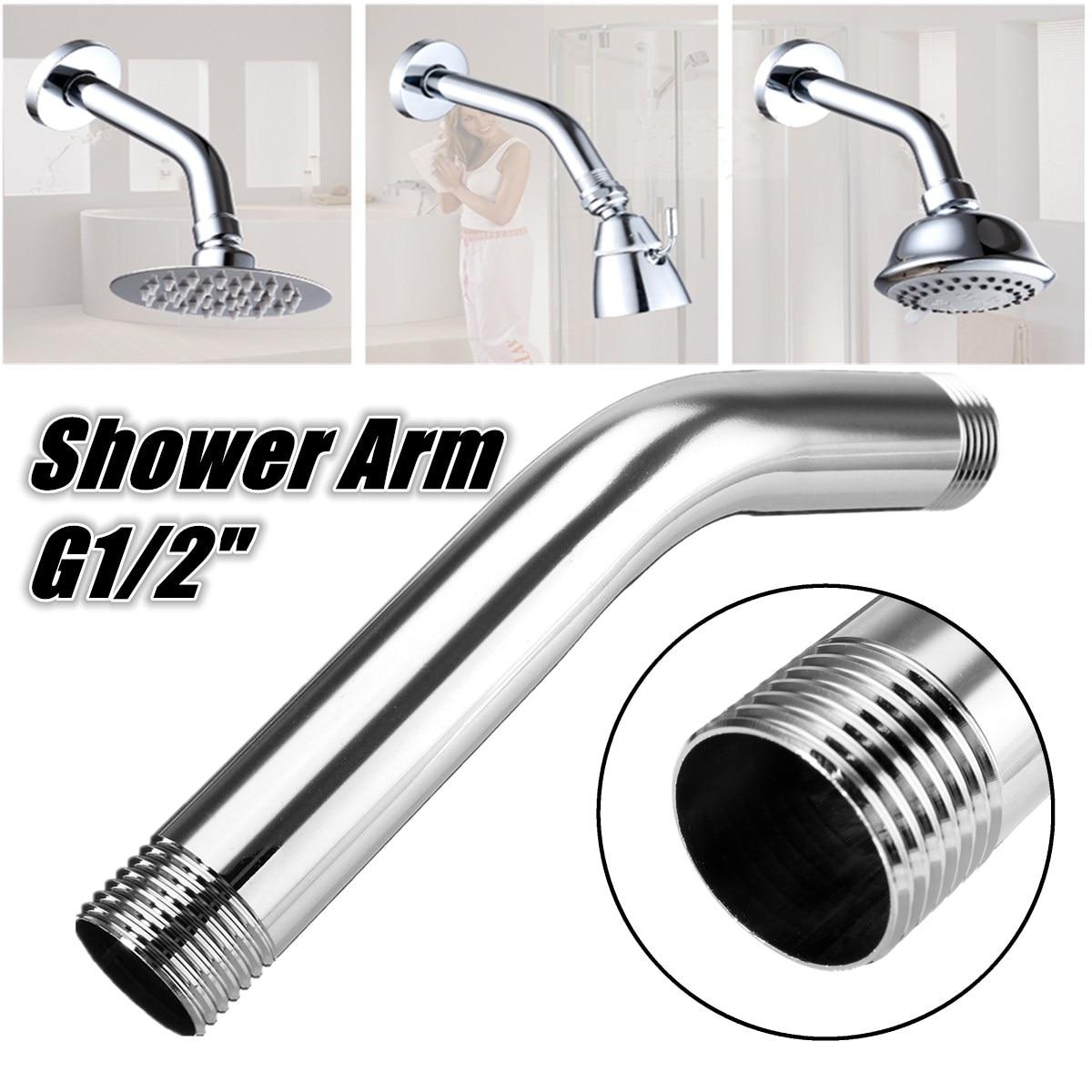 G1 2 Stainless Steel Shower Head Extra Tube Chrome Shower