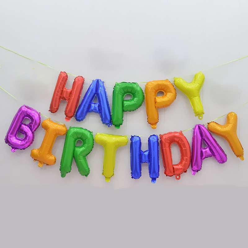 HAPPY BDAY Connection Letter Foil Balloons Birthday Party Decors Kids Alphabet Balloon Air Balln Baby Shower Supplies