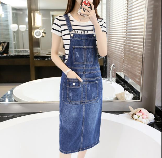 Enthusiastic 2019 Spring Summer Strap Denim Dresses Women Casual Jeans Sundresses Korean Fashion With Pocket Denim Blue Dress Rq79 Durable In Use Women's Clothing