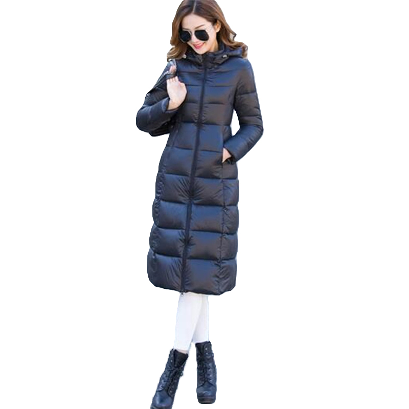 ФОТО 2017 Thicken Winter Woman Long Style Coat Plus Size Slim Cotton Padded Outerwear Solid Color Hooded Basic Coat SS511