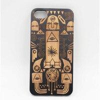 Wooden Phone Case Egyptian Pharaohs Zuma Wood Laser Engraving Design Border Material Matte Plastic PC For