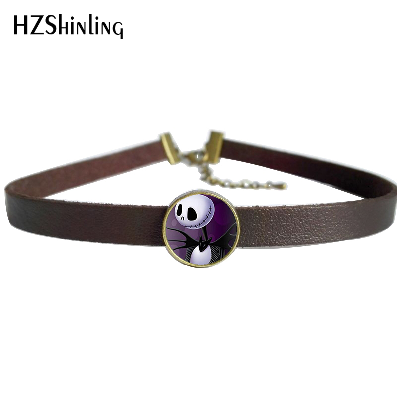 2017 New Nightmare Before Christmas Necklace Jack and Sally Jewelry Glass Photo Choker Pendant Vintage Leather Necklaces