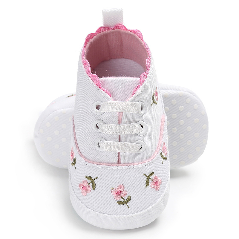 2019 Hot Sale Baby Girl Shoes White Lace Floral Embroidered Soft Shoes  Walking Toddler Kids Shoes Free Shipping