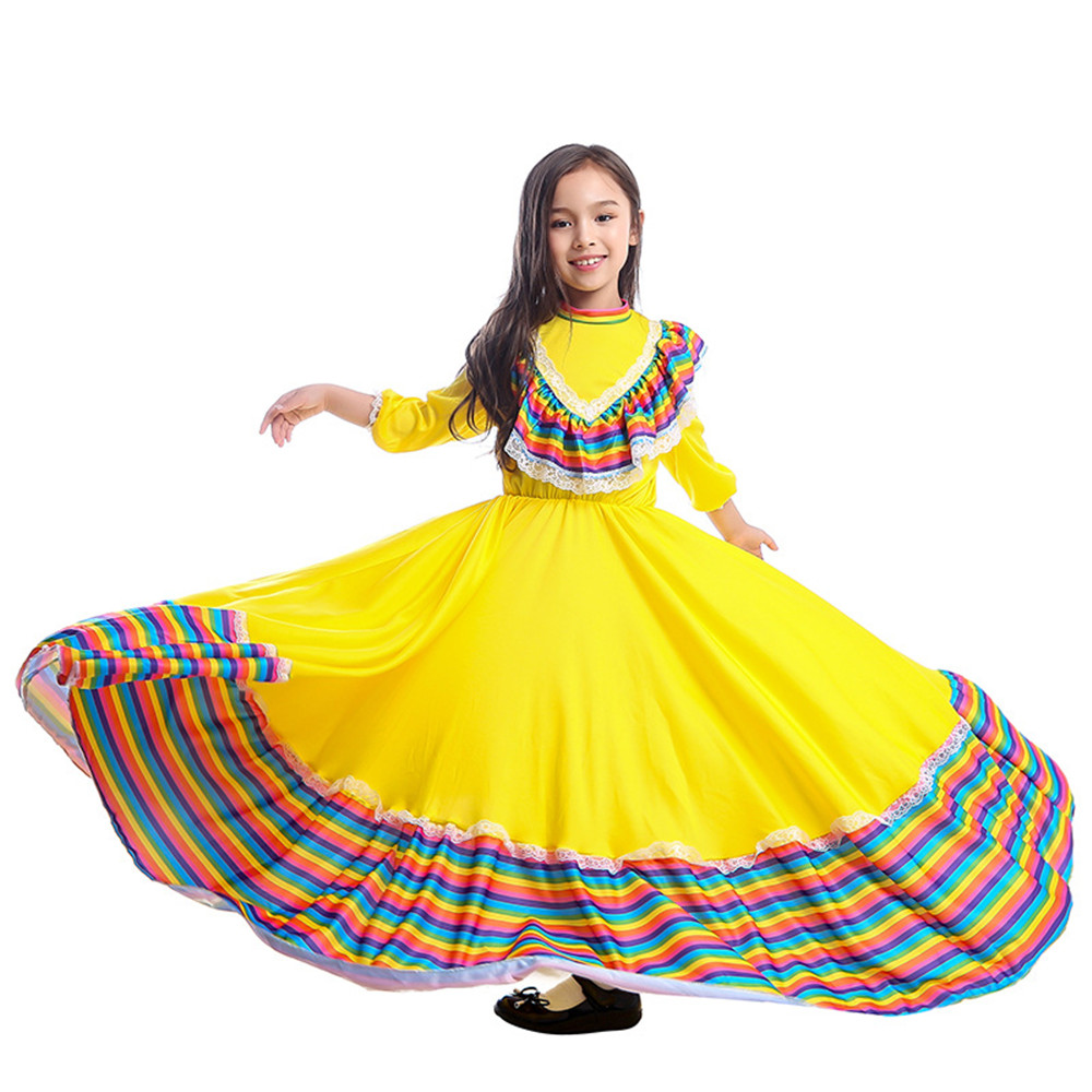 Girls Amazing Jalisco Traditional Guadalajara Mexican Folk Dancer dress Costume for kids