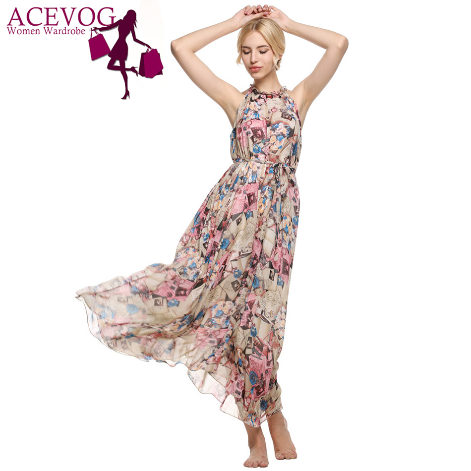 Acevog Wanita Off Bahu Tanpa Lengan Pantai Bohemian Halter Maxi Dompet Rc550 Long Dress Musim Panas Beachwear 4 Ukuran