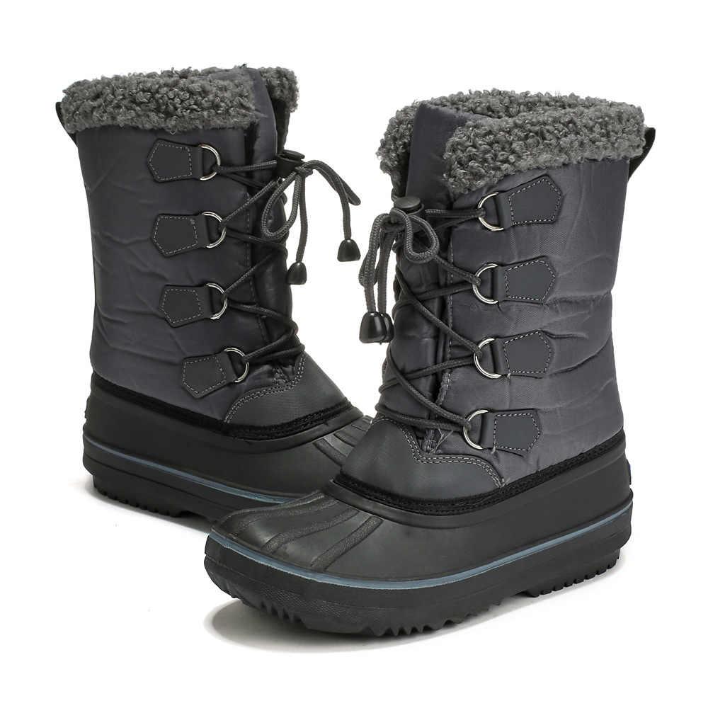 171d8770d ULKNN 2018 зимние сапоги кожаные черные серые ботинки из хлопка и плюша  анти-скользкие высокого