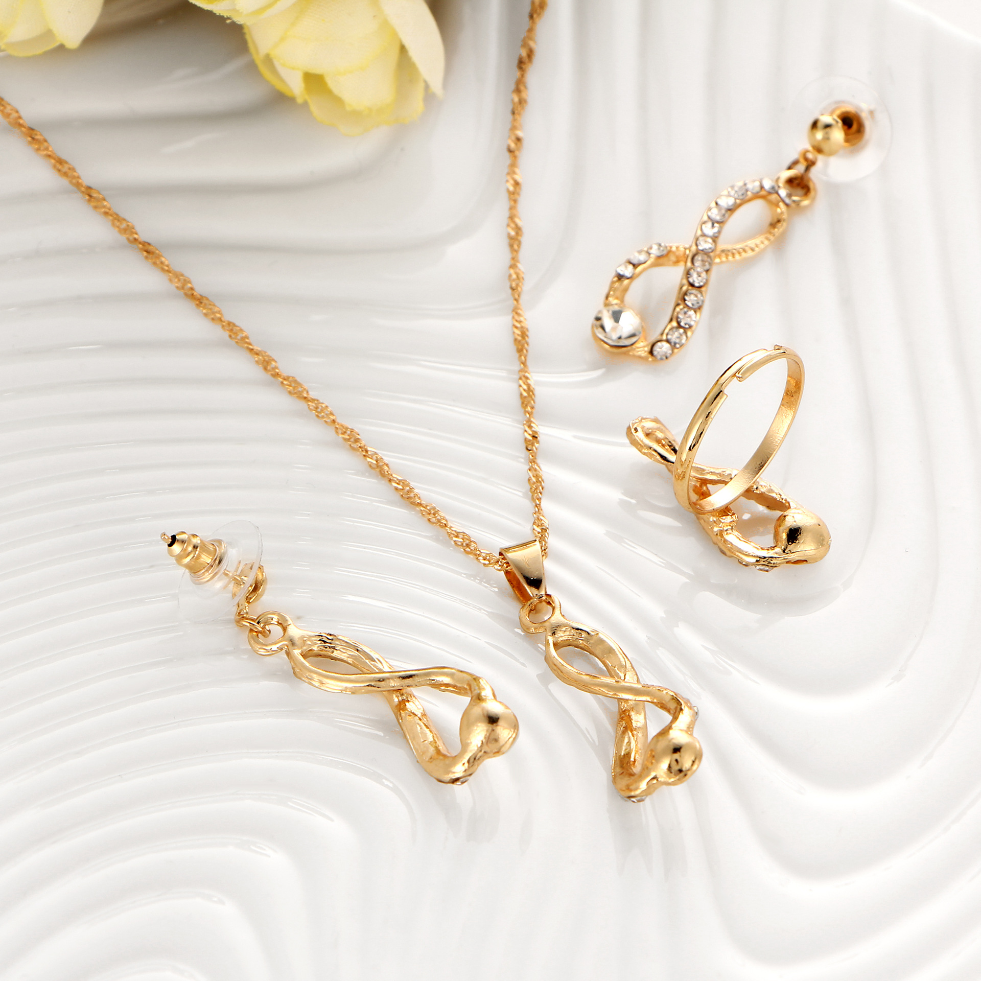 Bridal Jewelry Set Crystal Long Necklace Infinite Earrings Gold ...