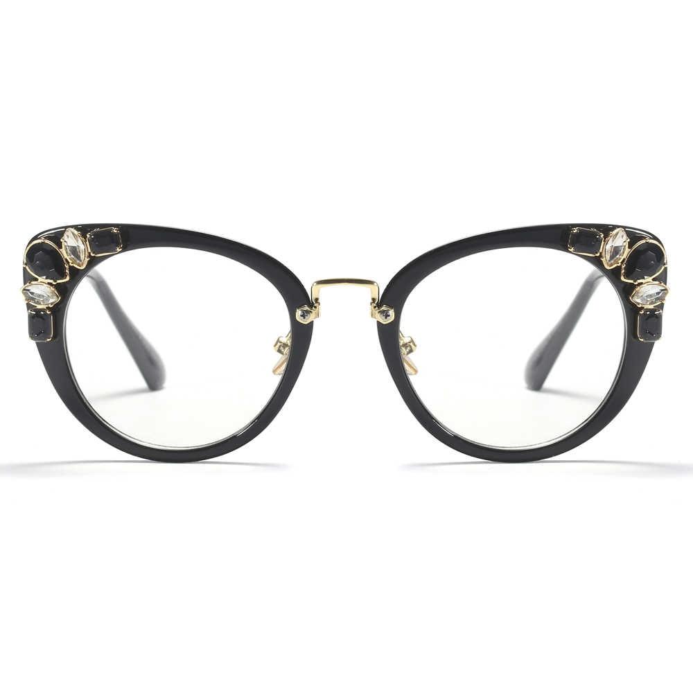 96e8ee23447 ... Peekaboo transparent crystal cat eye glasses frames for women designer  brand 2019 women s luxury eyeglasses rhinestones ...