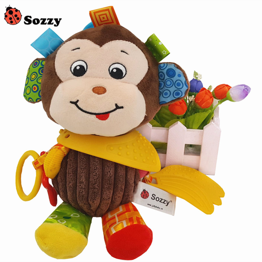 Authorized Authentic SOZZY Cute Colorful Monkey Multi Function Baby Rattle Bell Infant Baby Crib Stroller Hanging Baby Gift