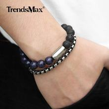 Unique Natural Sandstone Mens Beaded Bracelet Stainless Steel Cuban Link Chain Bracelets For Male Woman Wristband Gift DLBF26(Hong Kong,China)