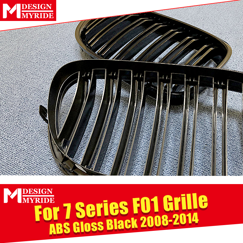 1 Pair F01 Front Bumper Grille ABS Material Glossy Black For F01 740i 745i 750i 760Li 2 Line Slats Front Kidney Grille 2008 2014 in Racing Grills from Automobiles Motorcycles