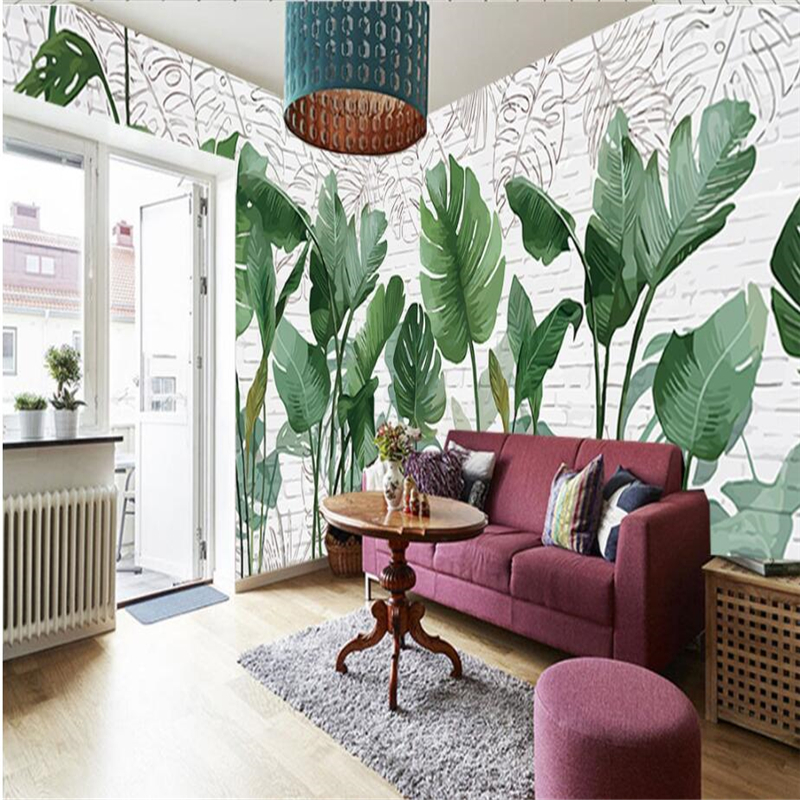beibehang Custom 3d wallpapers Nordic hand painted brick wall plant banana leaves wallpaper wallpaper in the living room TV beibehang modern luxury circle design wallpaper 3d stereoscopic mural wallpapers non woven home decor wallpapers flocking wa