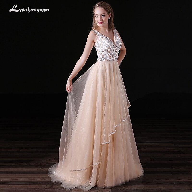 Champagne Lace Wedding Gown: Vestido De Noiva Champagne A Line Wedding Dress V Neck