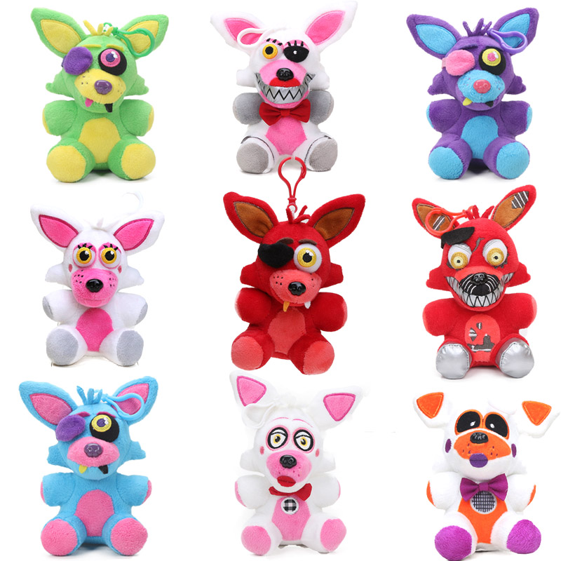 15CM FNAF Toys Five Nights At Freddy's 4 Plush Pendant Mangle Foxy Chica Bonnie Golden Nightmare Freddy Fazbear Keychain Toy
