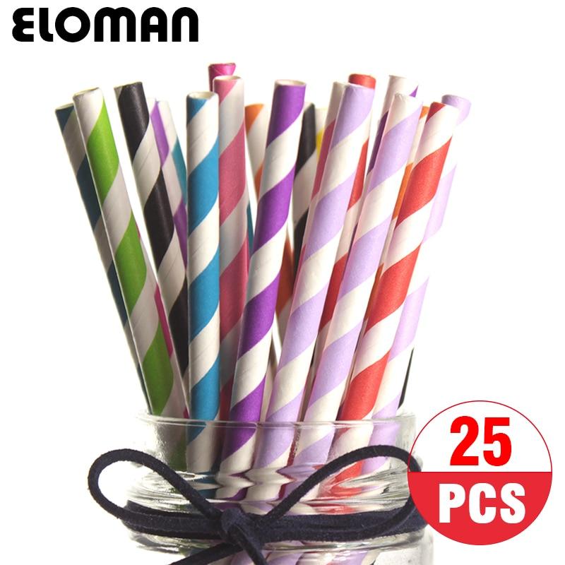 Pailles en papier rayé pour enfants   25 pièces/paquet, paille de couleur pour fête danniversaire, fournitures de décoration pour fête festive