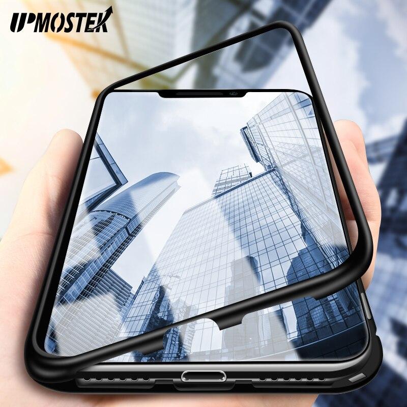 UPMOSTEK adsorción magnética para el iPhone X XR XS marco del Metal vidrio templado para el iPhone XS Max 7 6 6 S 8 más imán caso