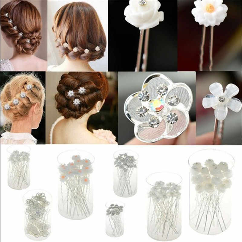 2019 Sale New Fashion 20pcs Lots Wedding Bridal Crystal Faux Statement Flower Hairpin Hair Clip Bridesmaid 6style U Choose