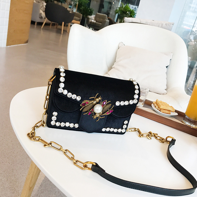 все цены на Bee bag Chain shoulder bag New velvet face bao bao handbags