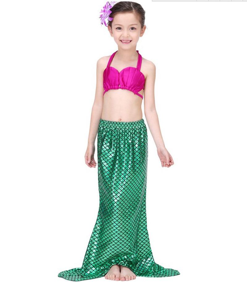 Children's Swimwear Baby Girls Kids Bathing Suit Mermaid Fancy Tail Swimmable Bikini Sets Halter Fancy Summer Swimwear 3-9Y