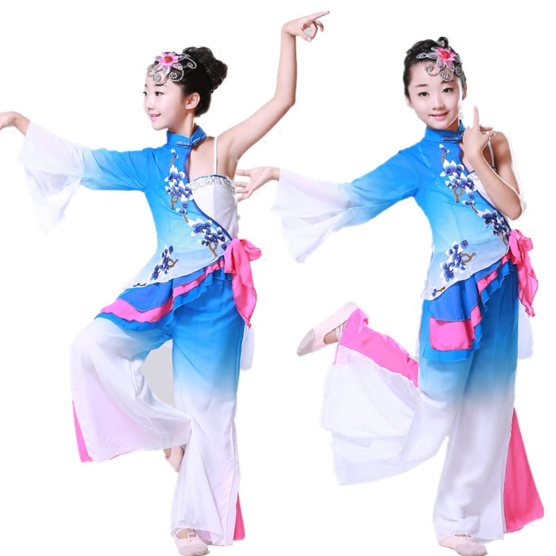 Girls Embroidery Chinese Folk Dance Costumes Blue Children Fan Yangko Classical Dance Stage Performance Clothing