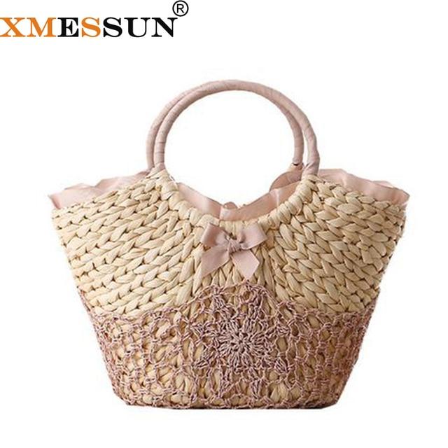 413a905267b8 Пляжная сумка большая соломенная сумка ручной работы Тканые женские  дорожные сумки роскошные дизайнерские вязаный крючком цветочные