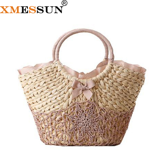 Bolso de playa grandes bolsas de paja bolso tejido a mano para mujer bolsos  de viaje 59d49033d9d4