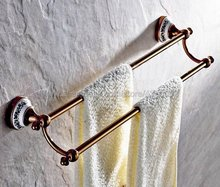 Rose Gold Barss Wall Mounted Bathroom Double Towel Rail Holder Rack Bathroom Accessories Towel bar, Towel holder Kba382 xogolo rose gold creamic mosaic bath towel hanger fashion luxury double layer towel rack for bathroom accessories high quality