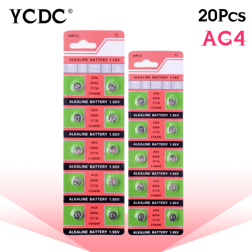 YCDC 2018 TOP TIANQIU Brand++High Power++20x ag4 alkaline button coin cells battery lr626 177 377a d377 gp377 sr626 1.55v accell replacement 1 5v 26mah ag4 lr626 377 sr626 177 button batteries 10 pcs