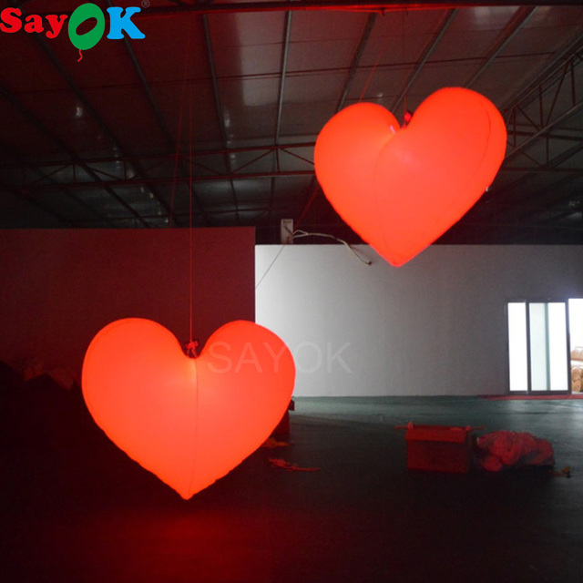 Sayok 1m/1.5m/2m Inflatable Red Heart Balloon with White LED Lights for Wedding Valentine's Day Decorations