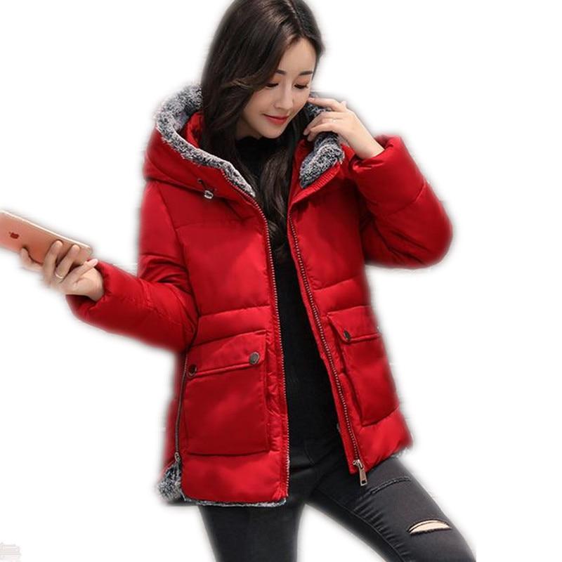 2017New Winter&Autumn Down Cotton Jacket Parka Female Winter Hooded Size L-5XL Short Cotton Solid Slim Outerwear Warm ParkaCQ392 winter