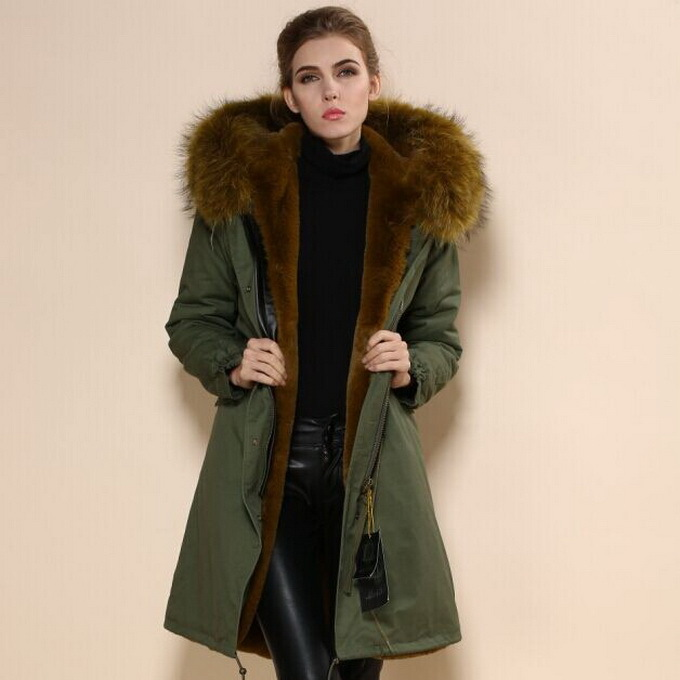 Green Parka Coat With Fur Hood