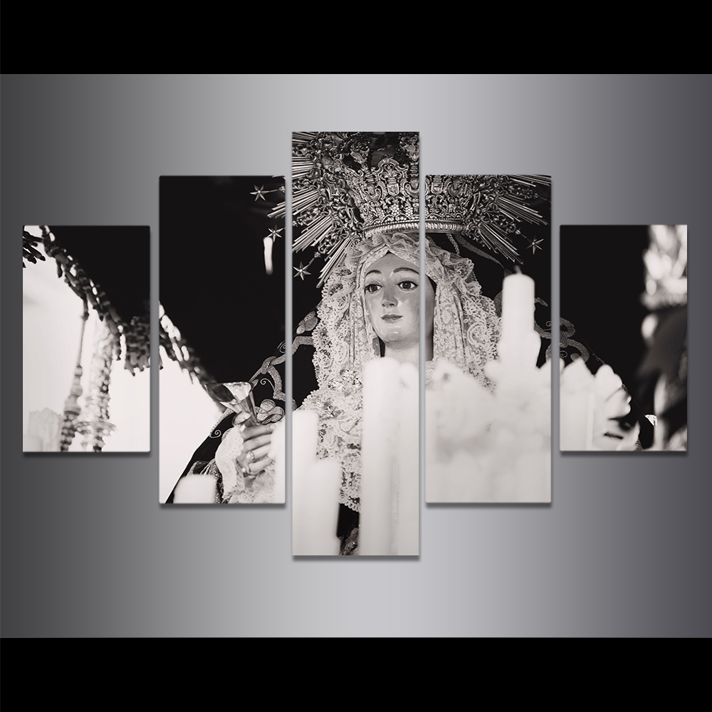Unframed Canvas Painting Black And White Female Buddha Headwear Picture Prints Wall Picture For Living Room Wall Art Decoration