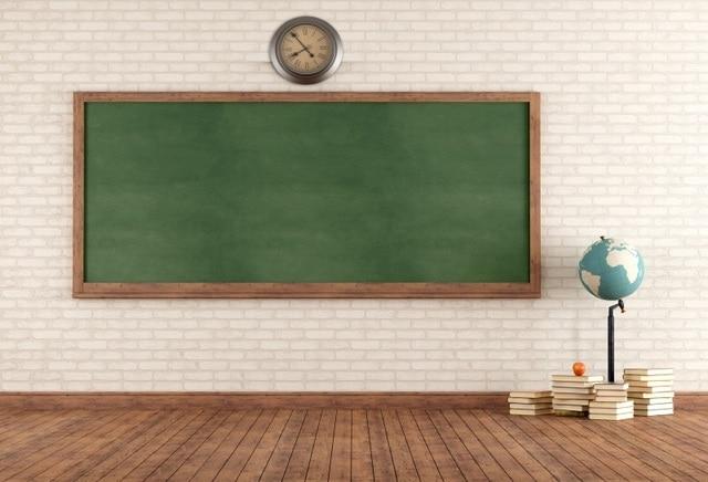 Laeacco Classroom Blackboard Brick Wall Wood Floor